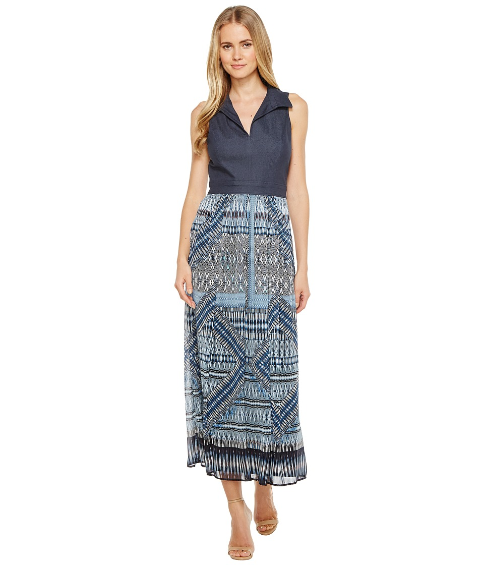 London Times Sleeveless Bodice Maxi Dress (Denim) Women