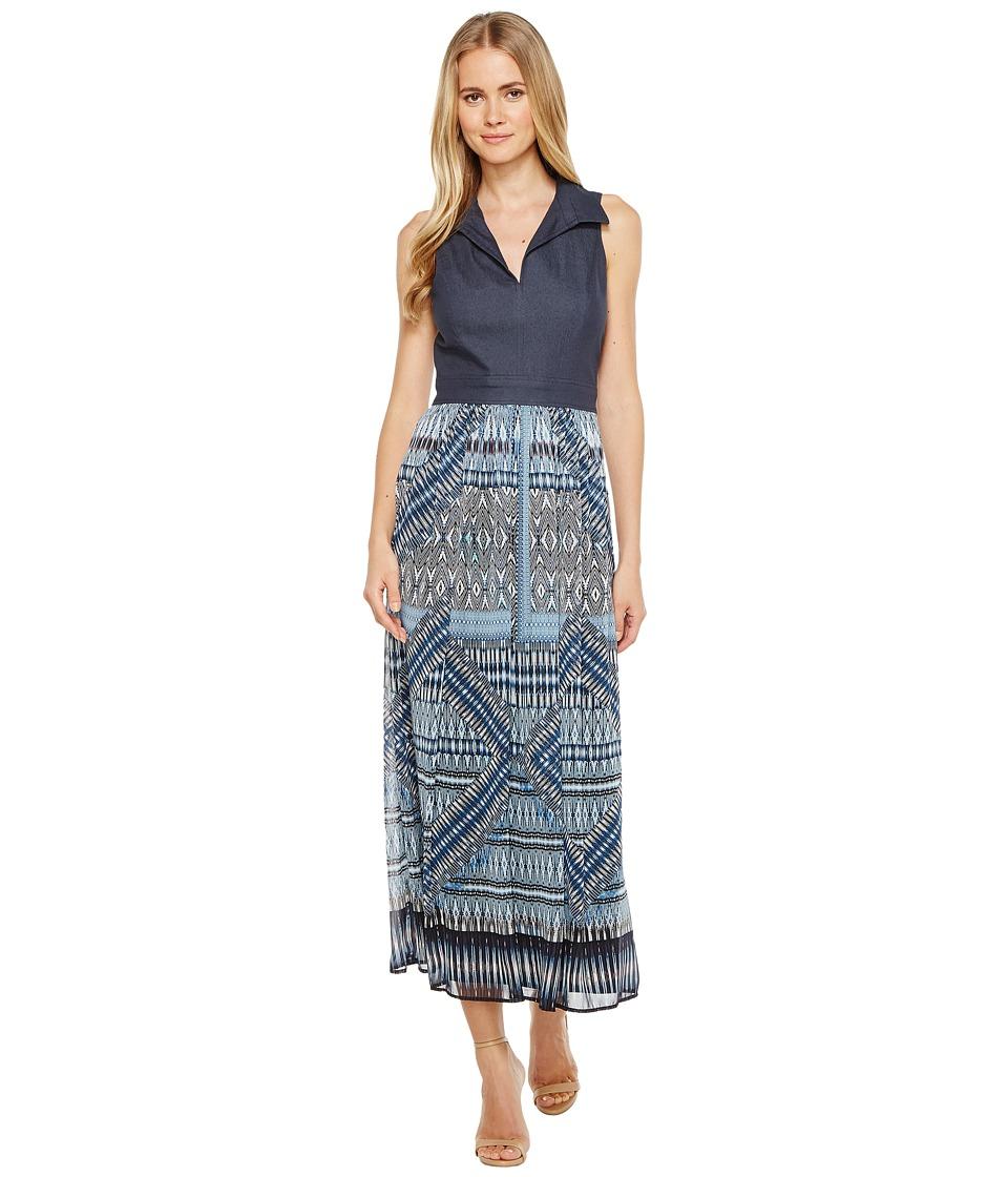 London Times - Sleeveless Bodice Maxi Dress (Denim) Women's Dress