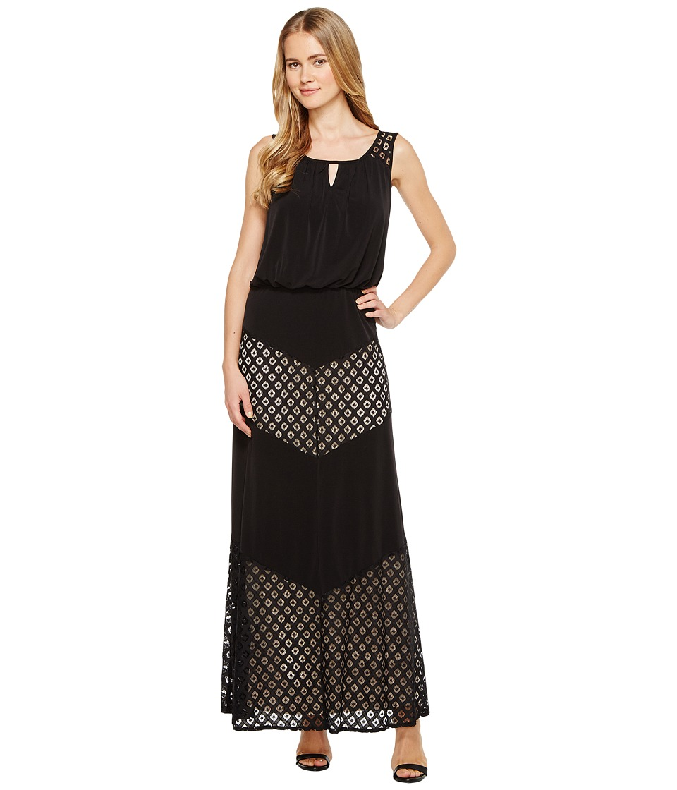 London Times Matte Jersey Sleeveless Maxi Dress (Black) Women
