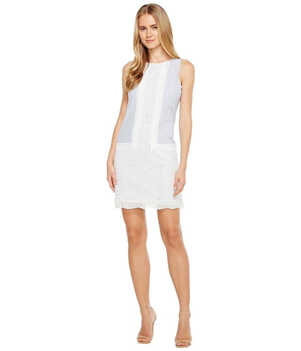 London Times - Sleeveless Shift Dress (Blue/White) Women's Dress
