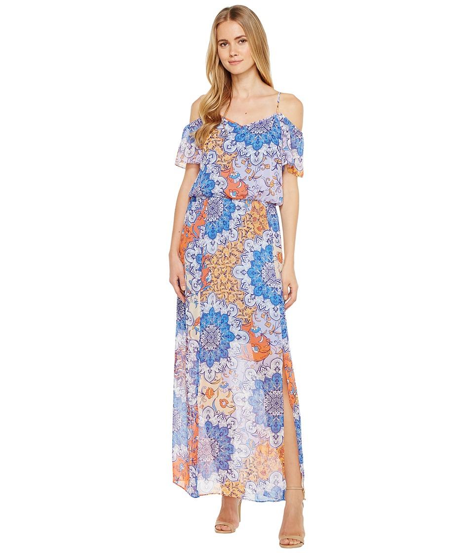 London Times Fleur De Lis Cold Shoulder Dress (Blue/Orange) Women