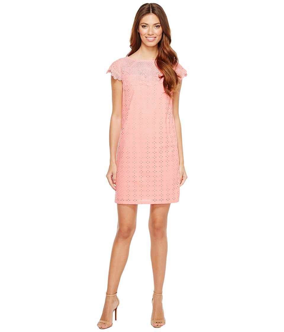 London Times Diamond Eyelet Shift Dress (Coral) Women