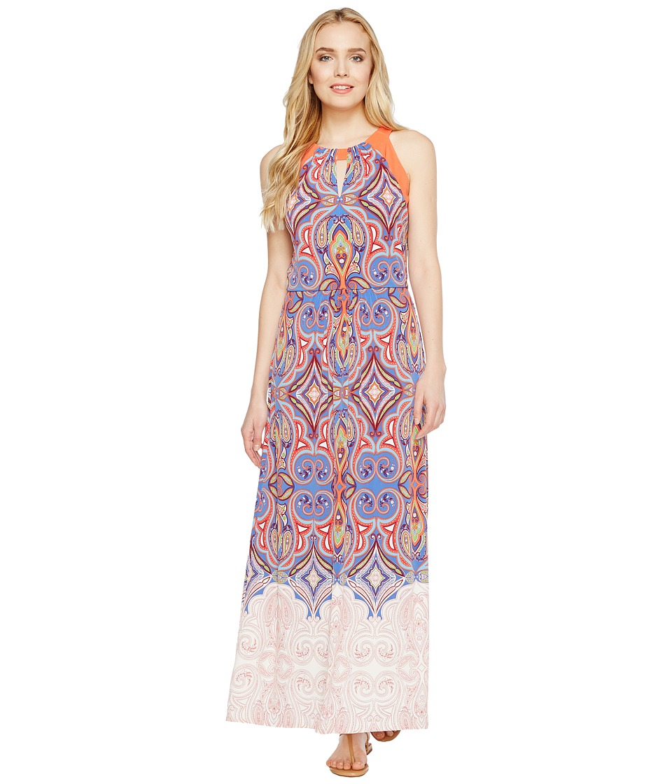 London Times Retro Medallion Halter Maxi Dress (Blue/Coral) Women