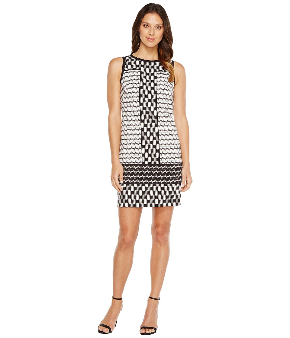 London Times - Geo Mis Sleeveless Shift Dress (Black/White) Women's Dress