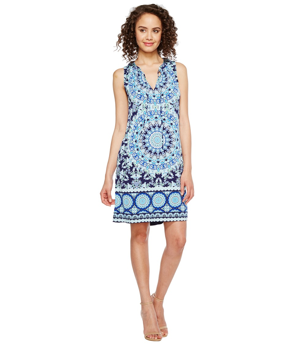 London Times Flower Dial Shift Dress (Navy Blue) Women
