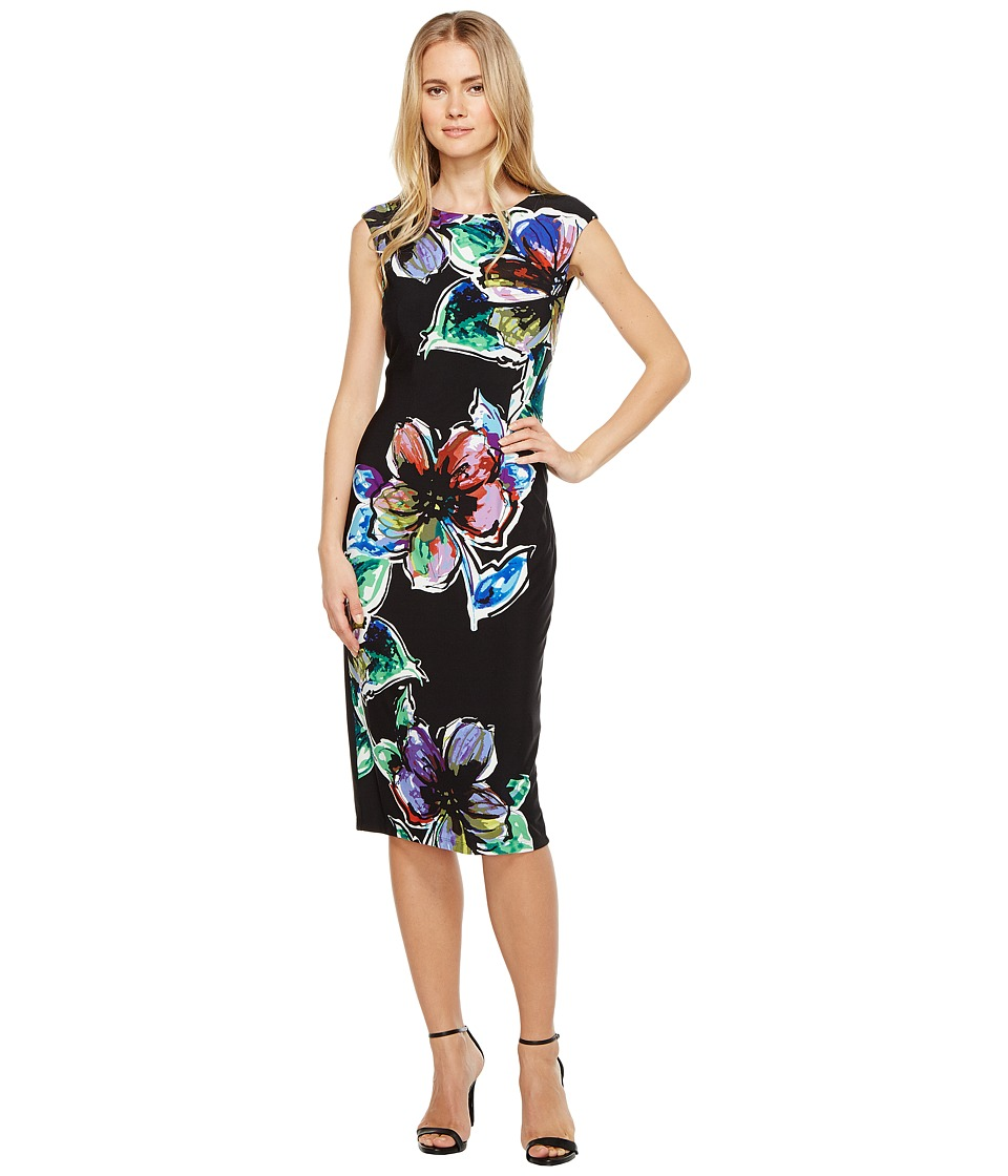 London Times Paintbox Jersey Sheath Dress (Black Multi) Women