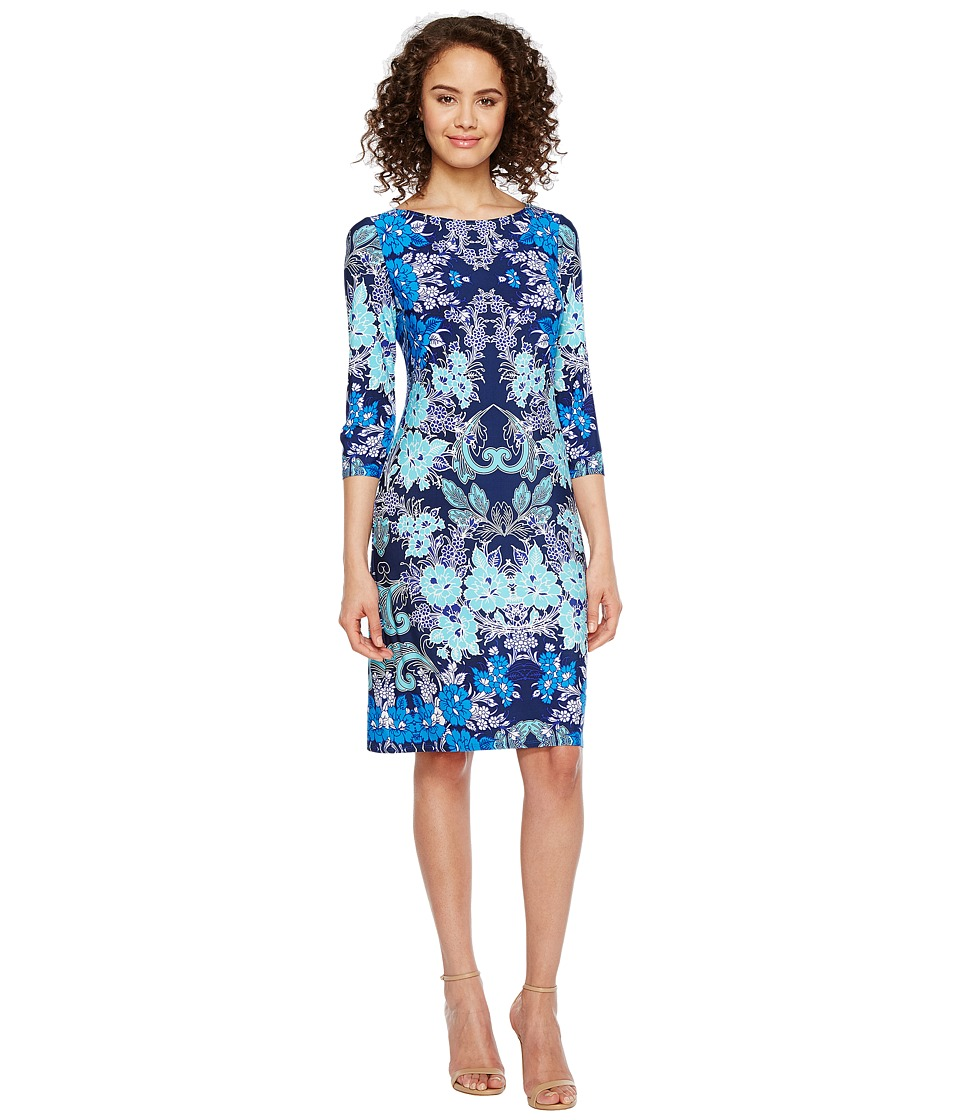 London Times - Vine Flower 3/4 Sleeve Shift Dress (Blue Aqua) Women's Dress
