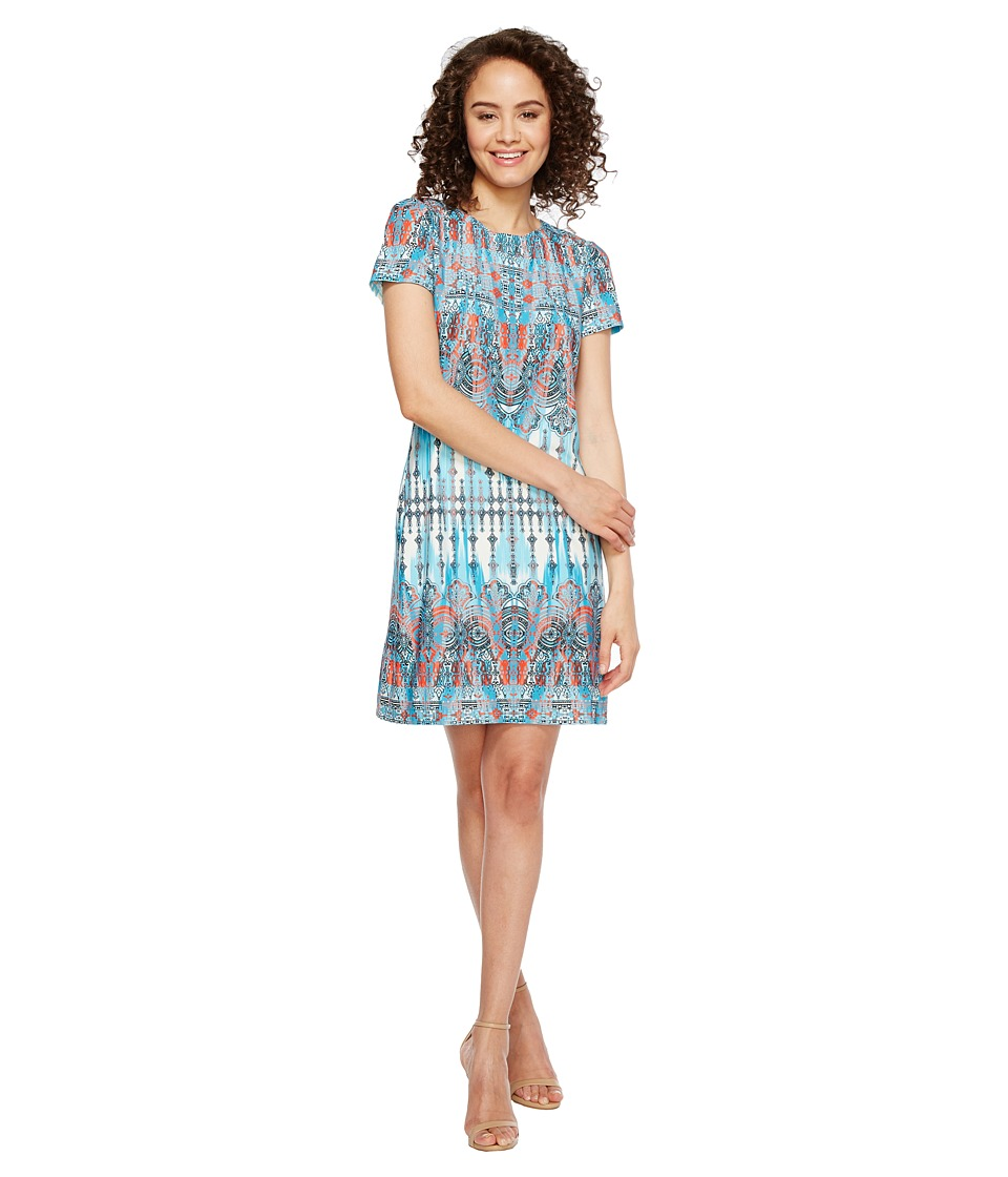 London Times Matte Jersey T-Shirt Shift Dress (Aqua Multi) Women