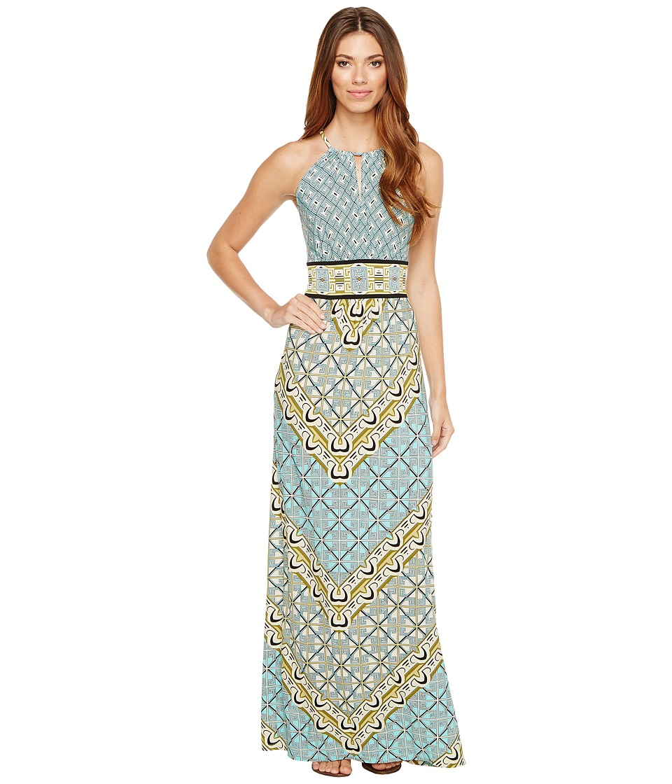 London Times - Geo Window Jersey Halter Maxi Dress (Aqua Multi) Women's Dress