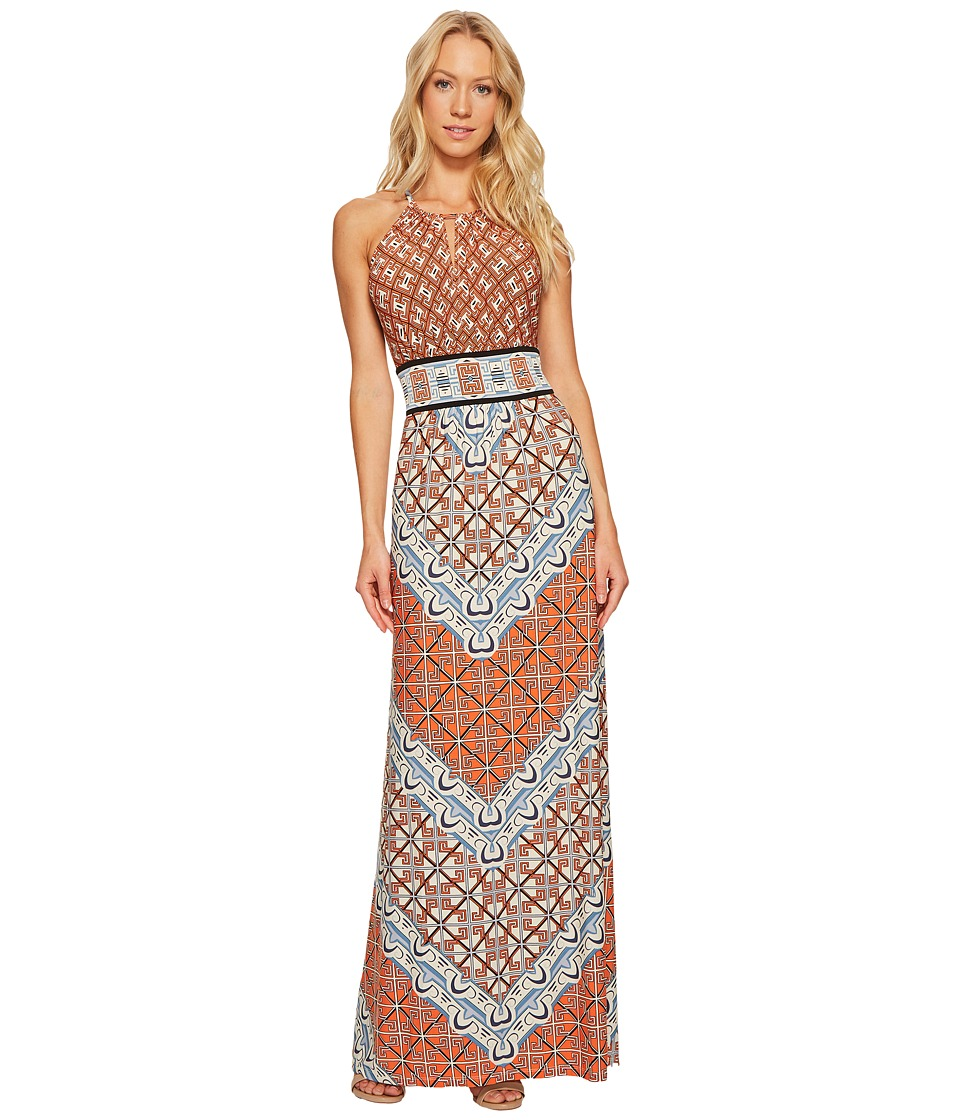London Times - Geo Window Jersey Halter Maxi Dress (Orange Multi) Women's Dress