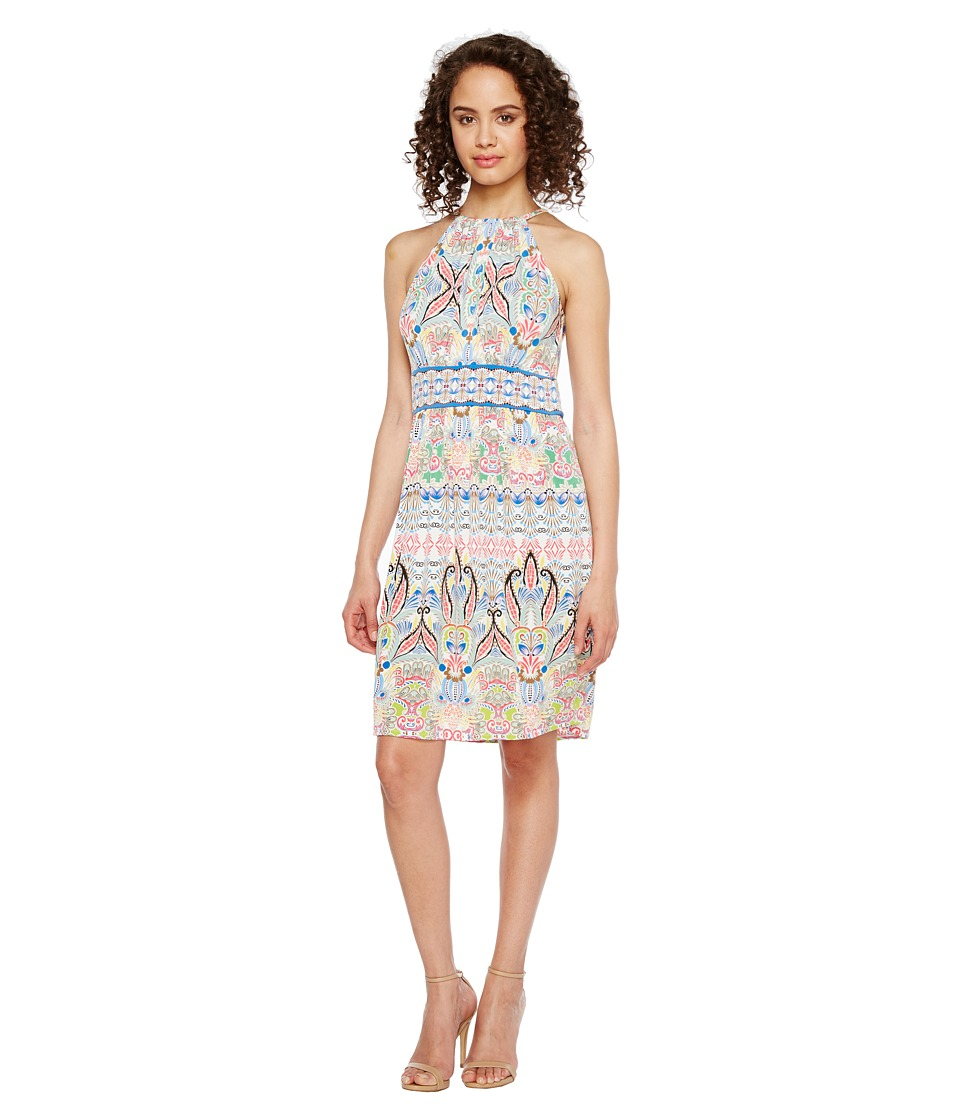 London Times Matte Jersey Halter Fit Flare Dress (Blue Multi) Women