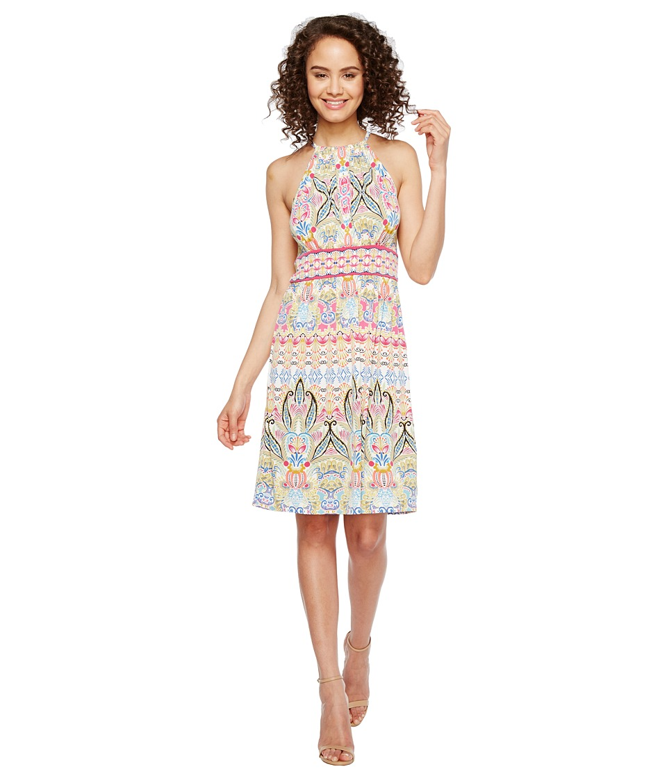 London Times Matte Jersey Halter Fit Flare Dress (Pink Multi) Women