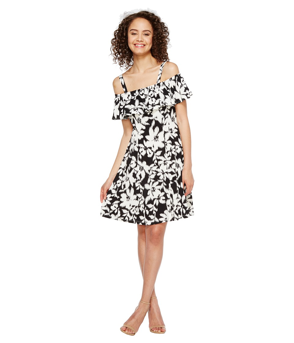 London Times Ruffled Off the Shoulder 6 Panel Dress (Black/White) Women