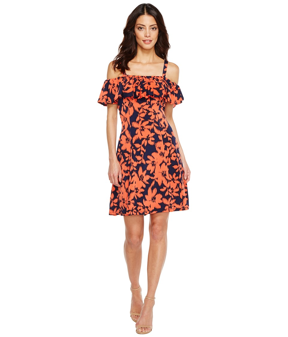 London Times - Ruffled Off the Shoulder 6 Panel Dress (Navy/Coral) Women's Dress
