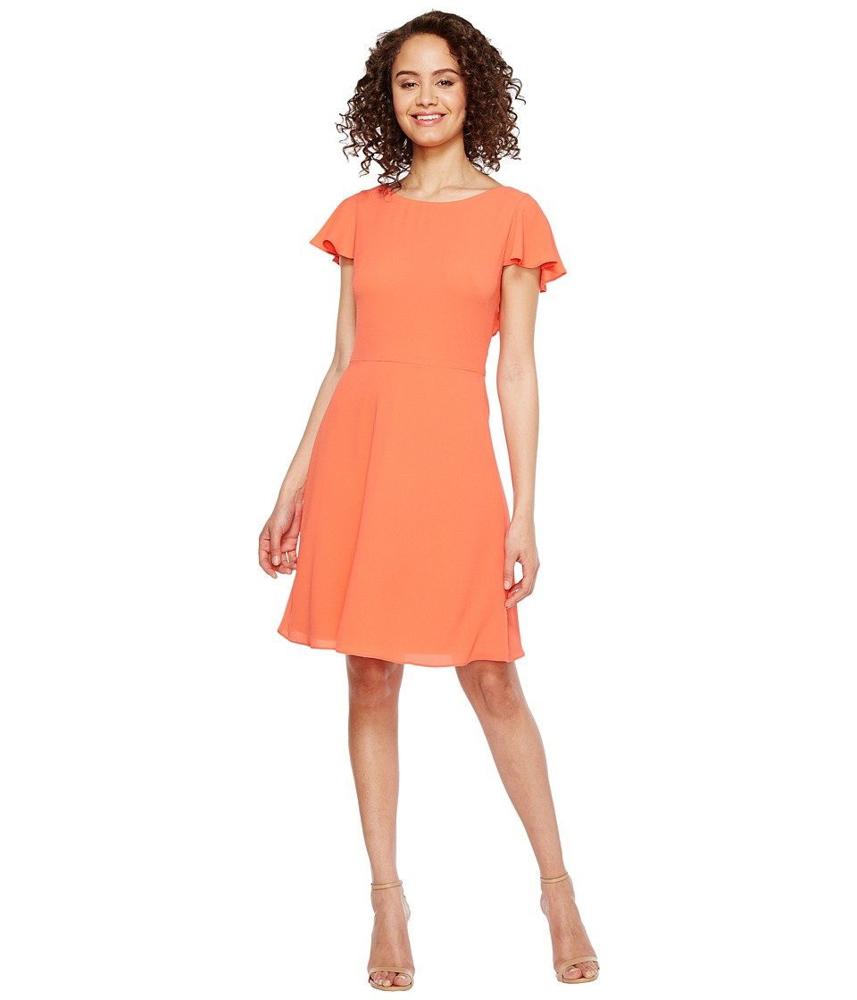 London Times - Crepe Dress w/ Shoulder Ruffle (Coral) Women's Dress