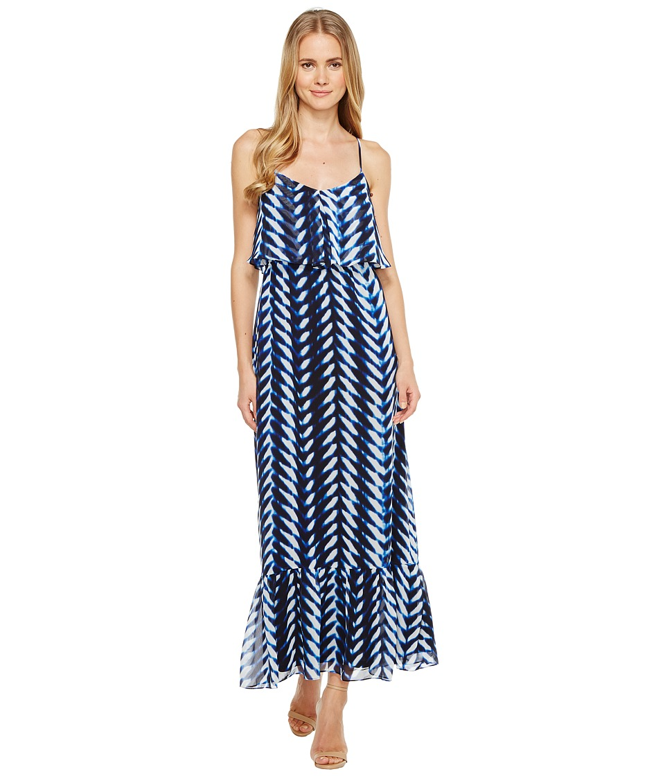 London Times Print Chiffon Strap Maxi Dress (Blue) Women