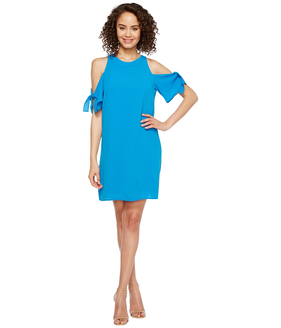 London Times Cold Shoulder Swing Shift Dress (Sea Blue) Women
