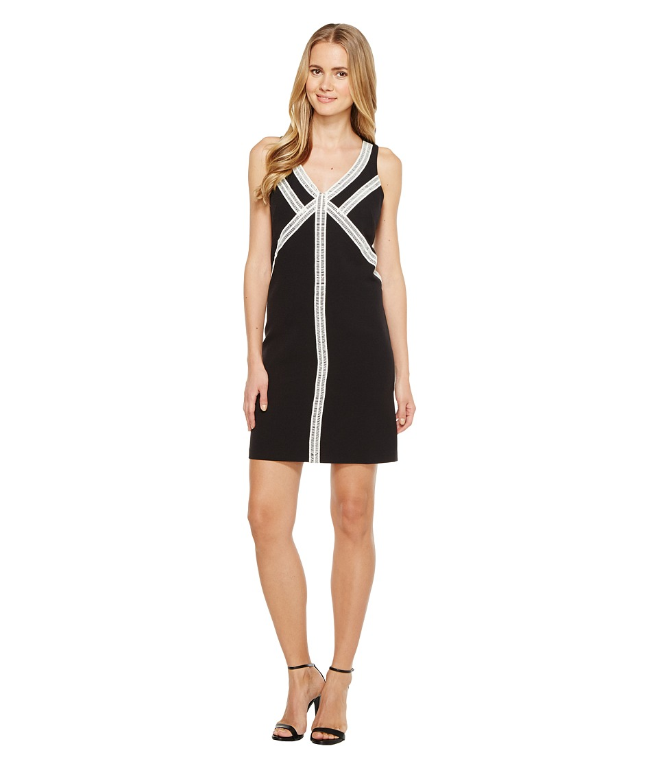 London Times - Sleeveless Shift Dress w/ V-Neck (Black) Women's Dress