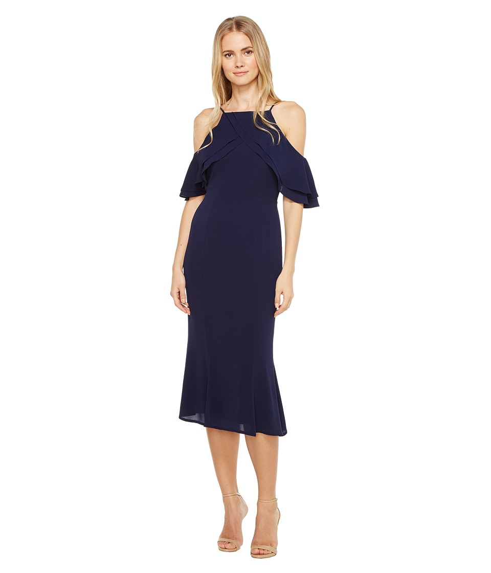London Times Cold Shoulder Sheath Dress w/ Ruffle (Navy) Women