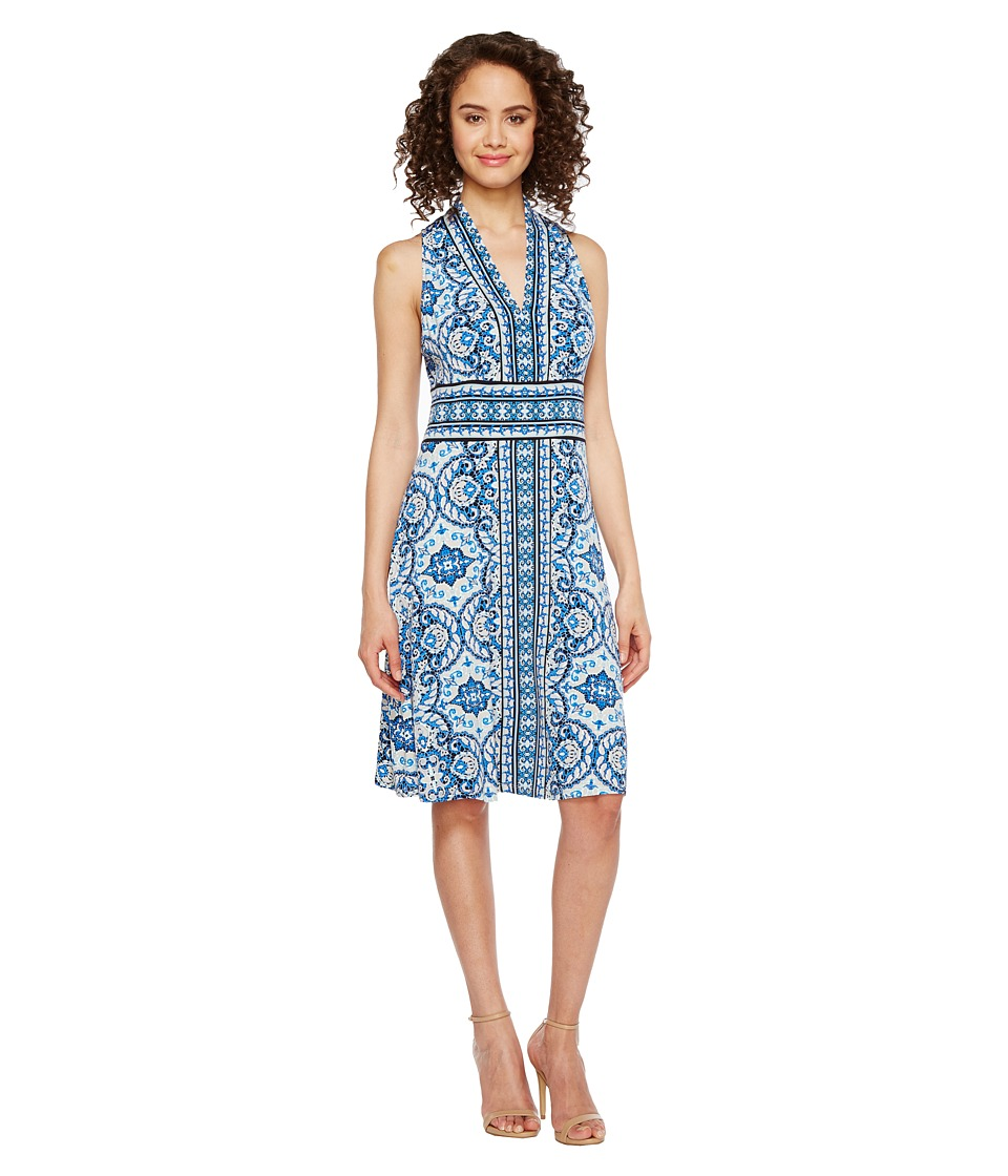 London Times Matte Jersey Halter Fit Flare Dress (Blue) Women