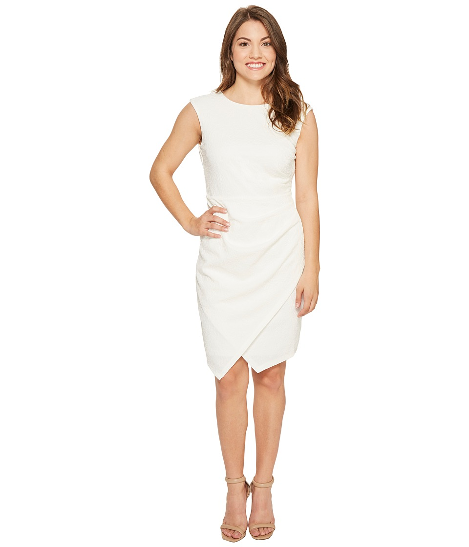 London Times Petite Asymmetrical Hem Sheath Dress (Sail White) Women