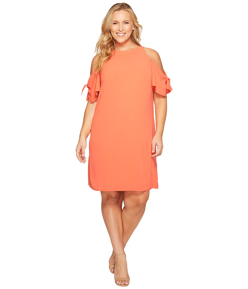 London Times - Plus Size Cold Shoulder Swing Shift Dress (Coral) Women's Dress