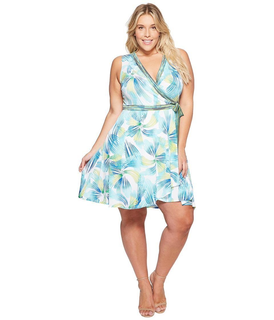 London Times - Plus Size Matte Jersey Fit Flare Wrap Dress (Green Multi) Women's Dress