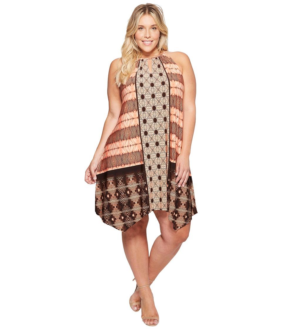 London Times - Plus Size Batik Patchwork Hanky Hem Halter Dress (Orange) Women's Dress