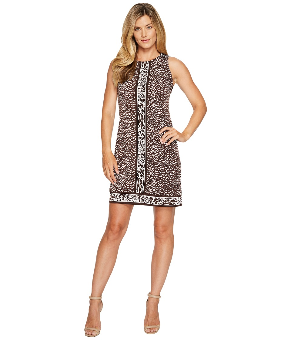 MICHAEL Michael Kors Cheetah Sleeveless Border Dress (Chocolate) Women