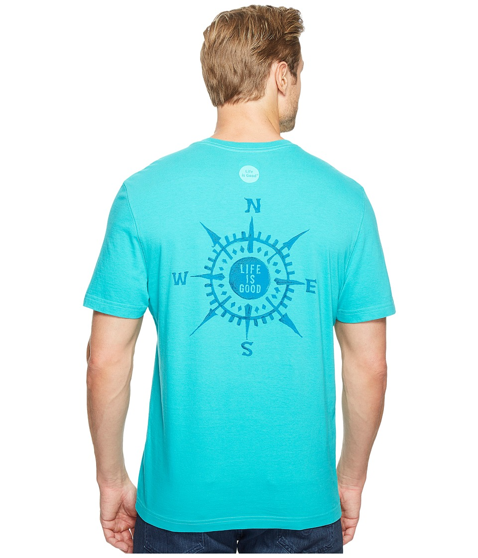 Life is Good - Compass Crusher Tee (Bright Teal) Men's T Shirt