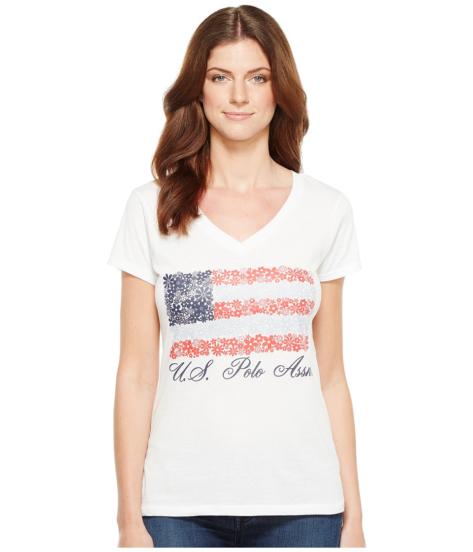 U.S. POLO ASSN. - V-Neck Flag Tee (Optic White) Women's T Shirt