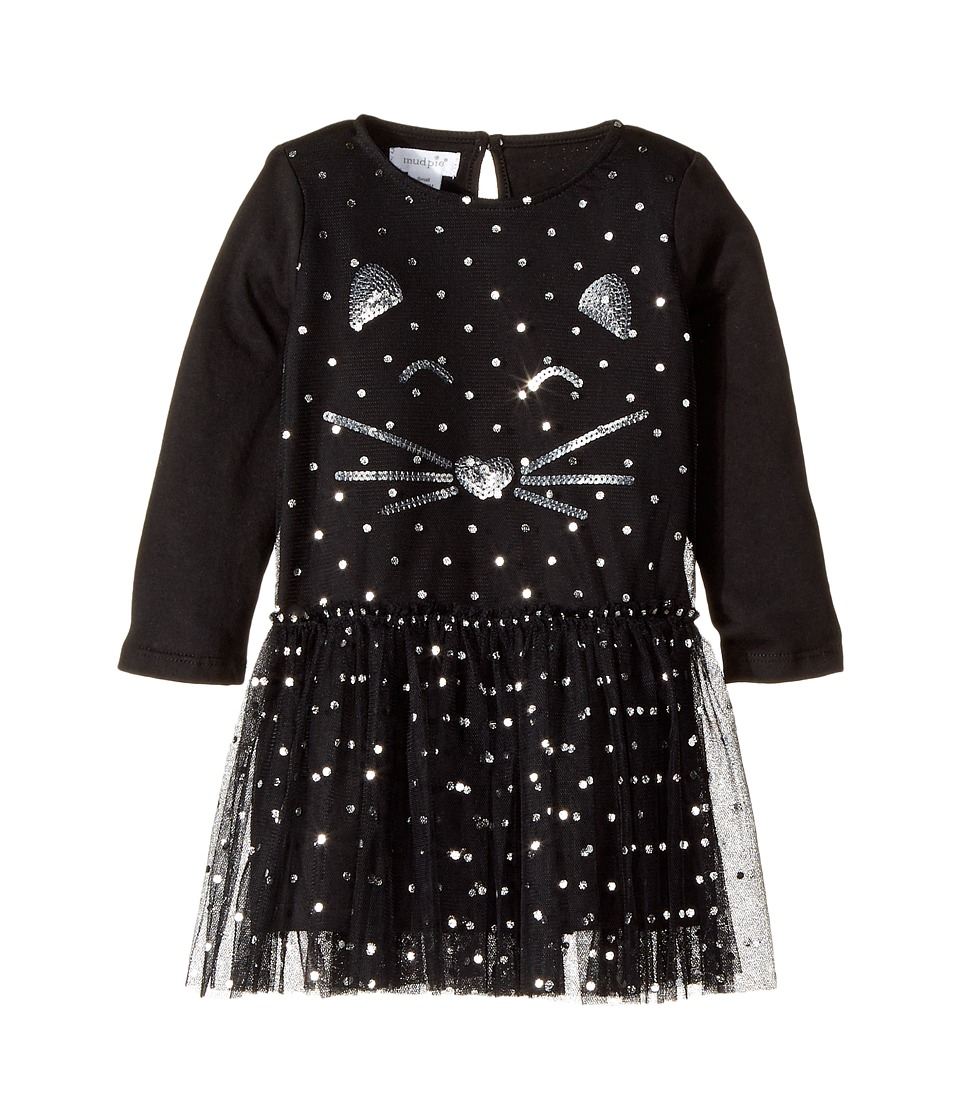 Mud Pie - Halloween Cat Mesh Overlay Dress (Infant/Toddler) (Black) Girl's Dress