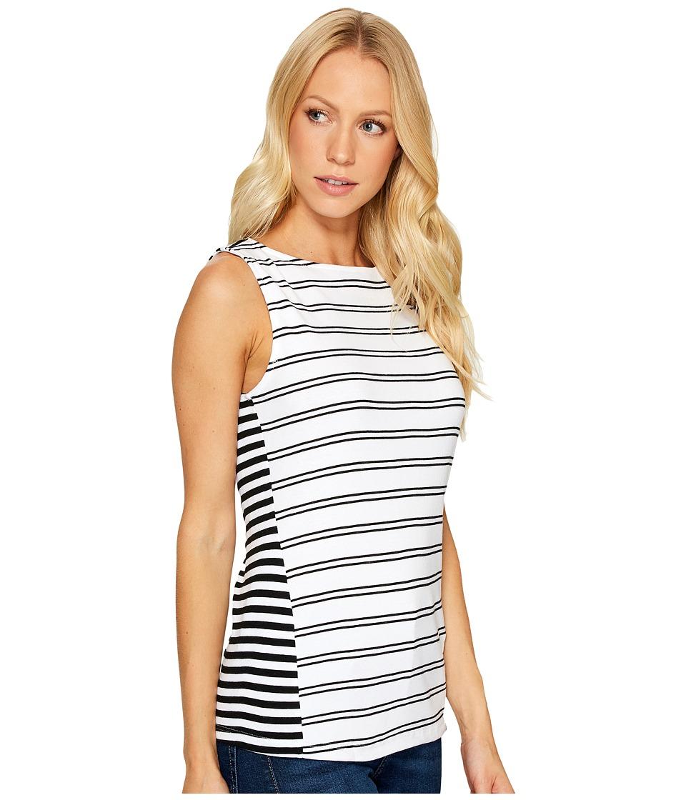Three Dots - Santorini Mykonos Striped Tank Top (Black/White) Women's Clothing