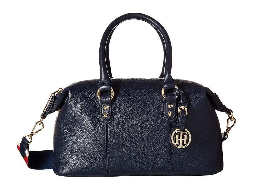 Tommy Hilfiger - Addy Pebble Leather Satchel (Navy) Satchel Handbags