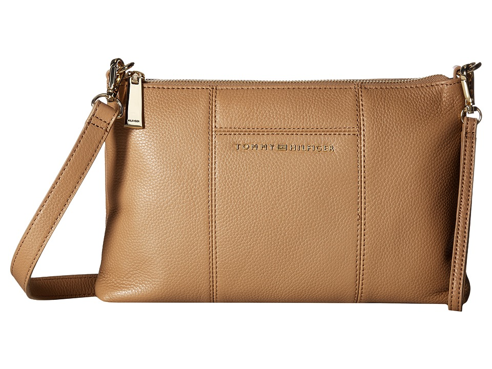 Tommy Hilfiger - Pauletta Pebble Leather Crossbody (Camel) Cross Body Handbags