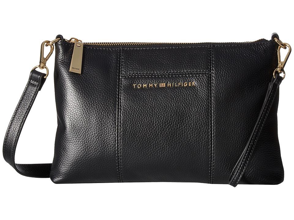 Tommy Hilfiger - Pauletta Pebble Leather Crossbody (Black) Cross Body Handbags