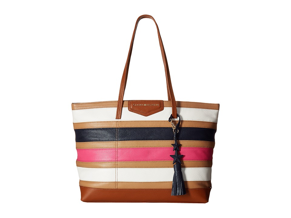 Tommy Hilfiger - Tassel Pebble Leather Tote (Camel/Multi) Tote Handbags