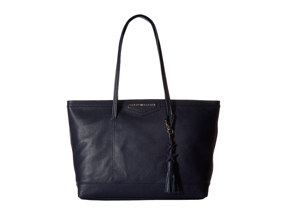 Tommy Hilfiger - Tassel Pebble Leather Tote (Tommy Navy) Tote Handbags