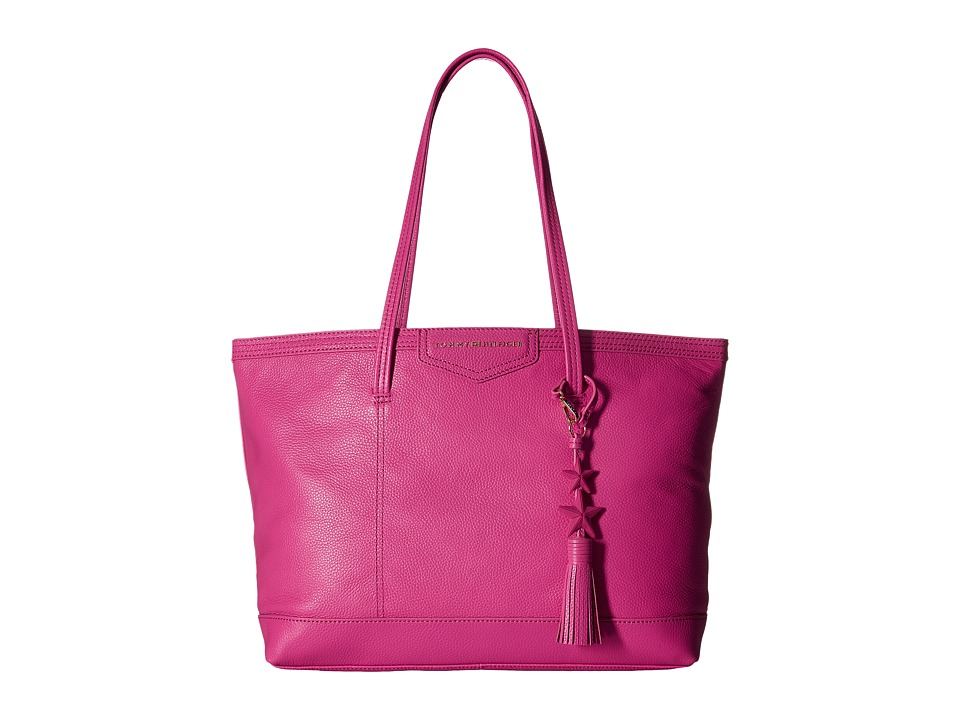 Tommy Hilfiger - Tassel Pebble Leather Tote (Geranium) Tote Handbags