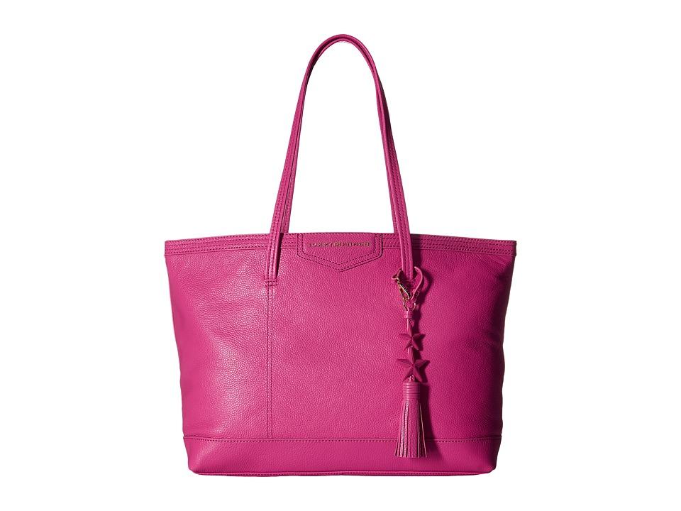 Tommy Hilfiger - Tassel Pebble Leather Tote (Geranium) Tote Handbags