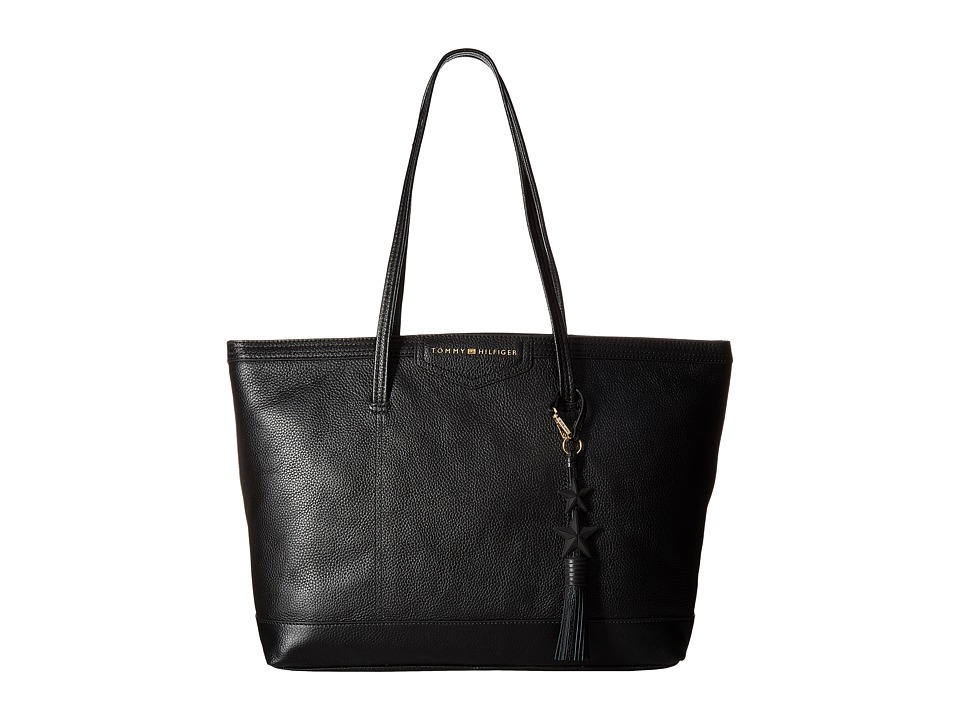 Tommy Hilfiger - Tassel Pebble Leather Tote (Black) Tote Handbags