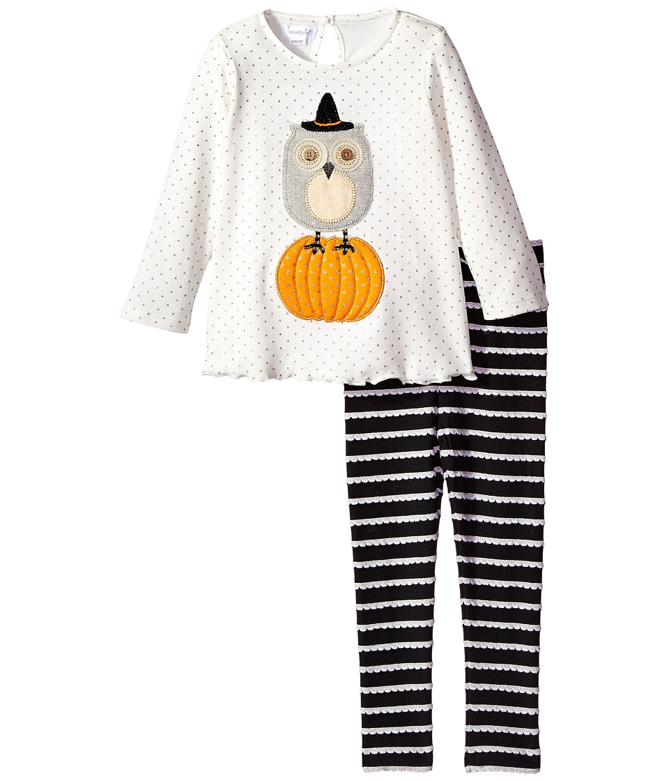 Mud Pie - Halloween Owl Tunic Leggings Set (Toddler) (White) Girl's Active Sets