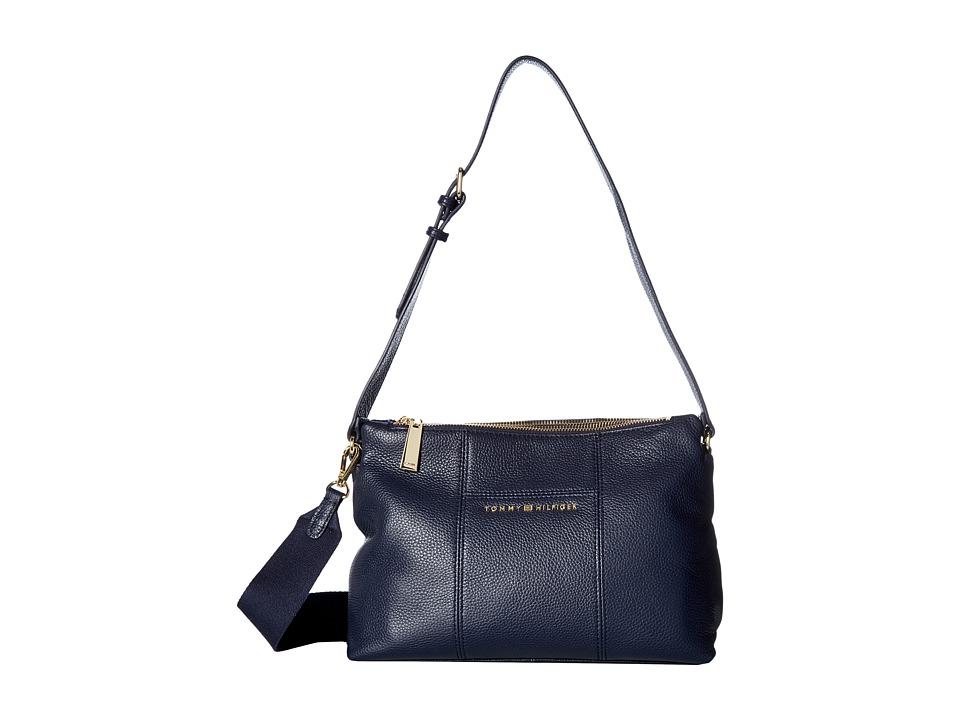 Tommy Hilfiger - Pauletta Convertible Pebble Leather Hobo (Tommy Navy) Hobo Handbags
