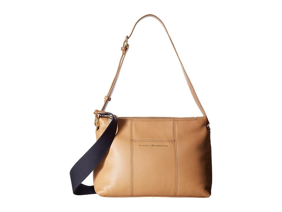 Tommy Hilfiger - Pauletta Convertible Pebble Leather Hobo (Camel) Hobo Handbags