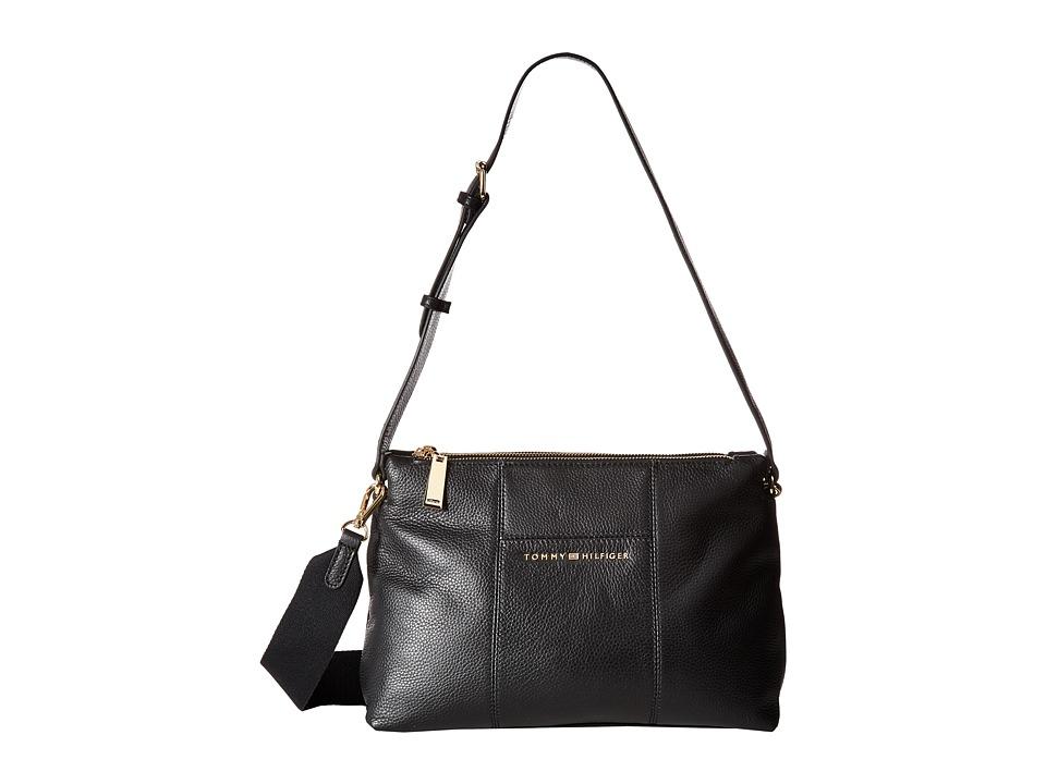 Tommy Hilfiger - Pauletta Convertible Pebble Leather Hobo (Black) Hobo Handbags
