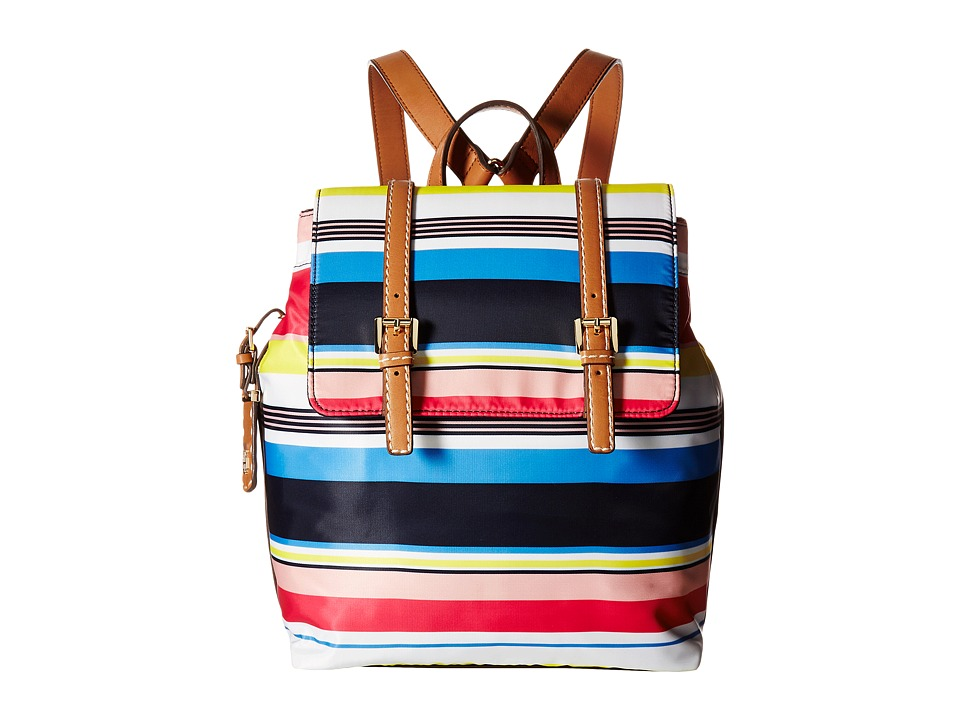 Tommy Hilfiger - Julia Stripe Flap Backpack (Geranium/Multi) Backpack Bags