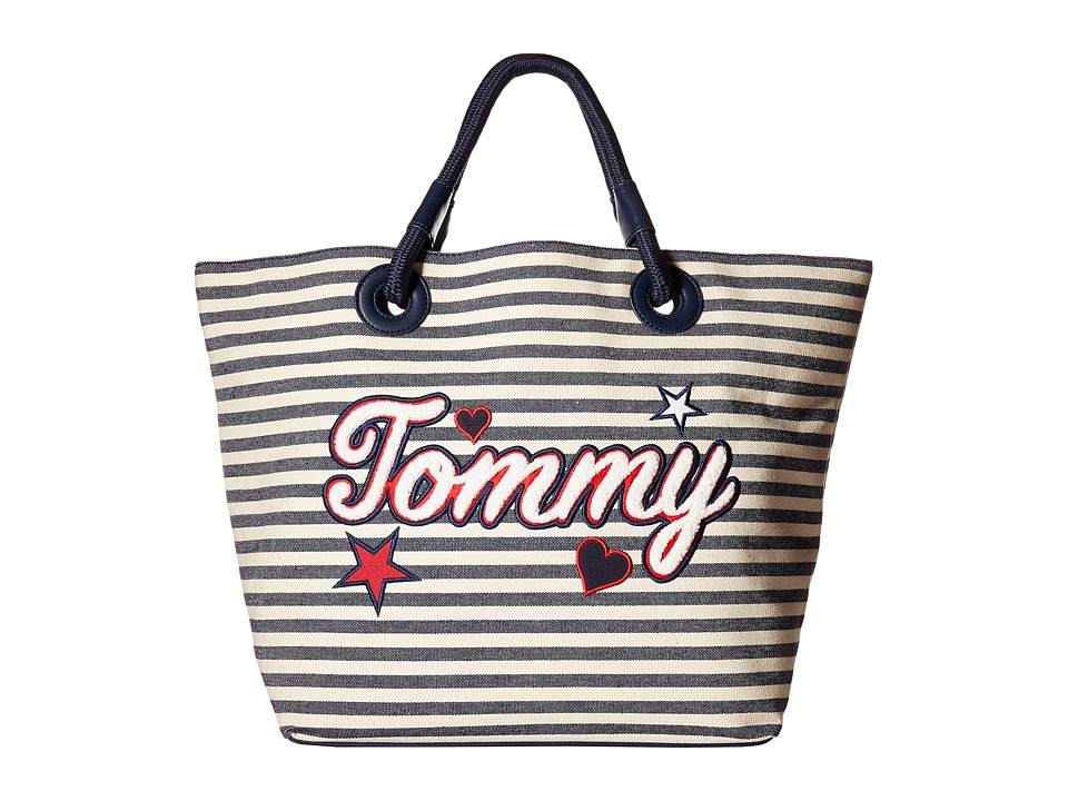 Tommy Hilfiger - Tommy Summer Tote (Navy/Natural) Tote Handbags