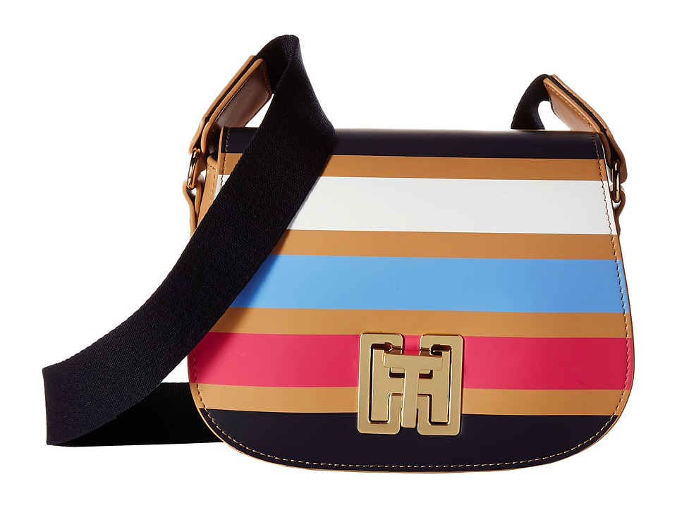 Tommy Hilfiger - TH Twist Stripe Saddle Bag (Camel/Multi) Handbags