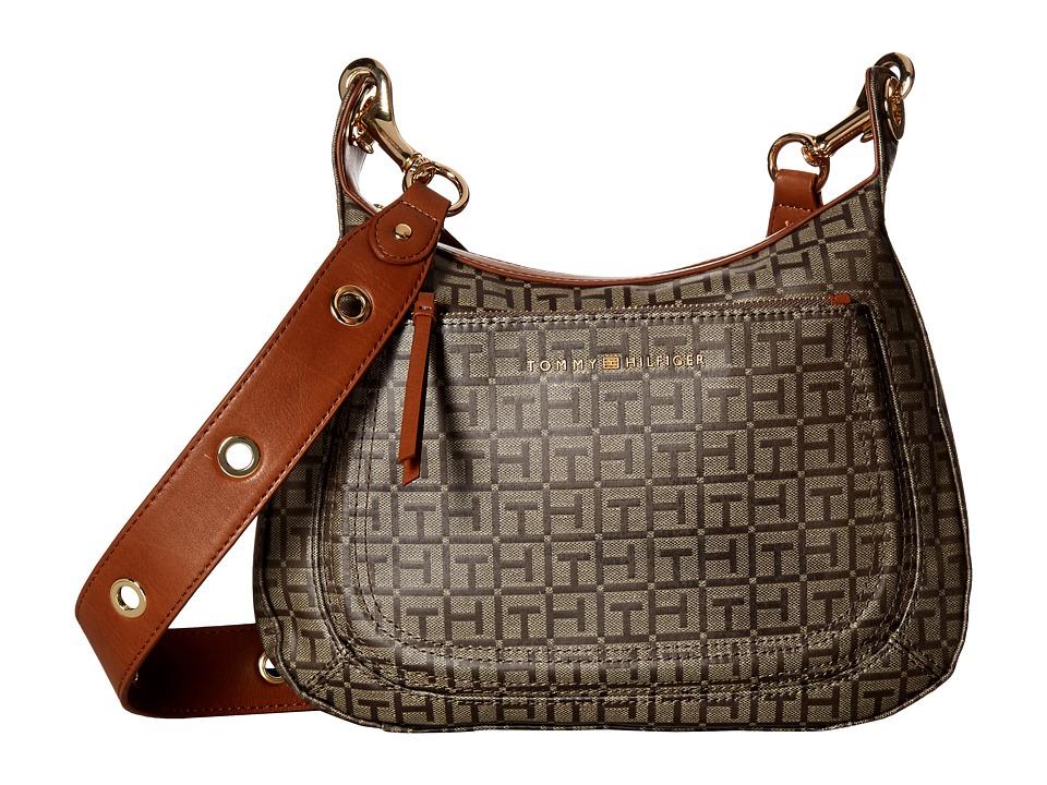 Tommy Hilfiger - Michaela Jacquard Crossbody Hobo (Navy/Tonal) Hobo Handbags