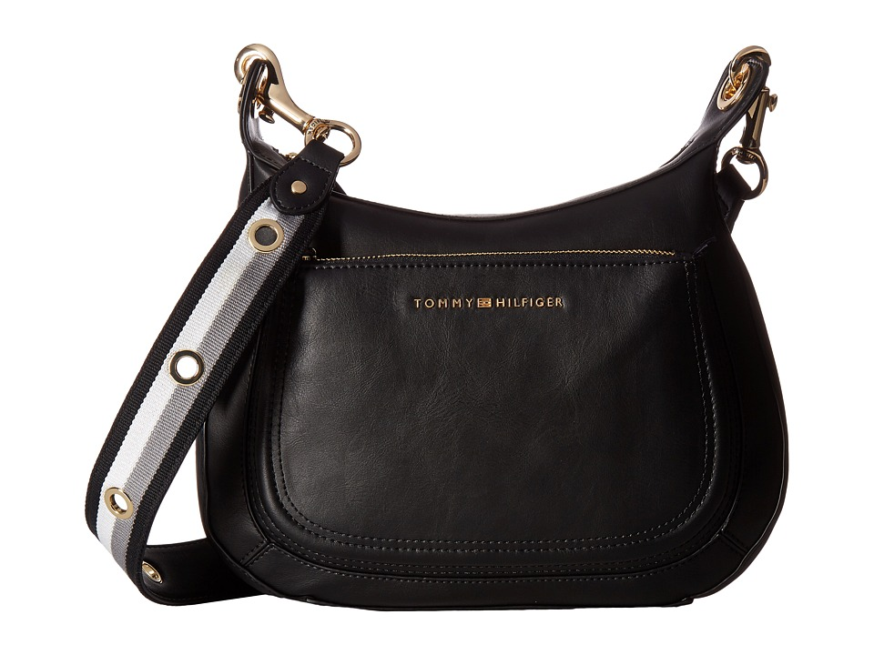 Tommy Hilfiger - Michaela Crossbody Hobo (Black) Hobo Handbags